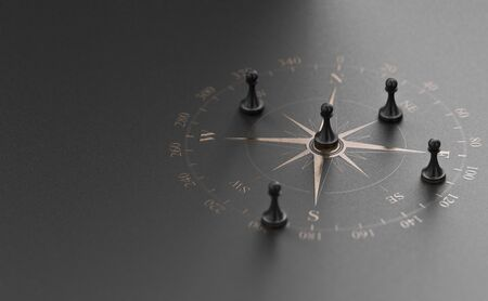 Golden compass rose over black  with five pawns. Banque d'images