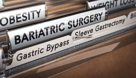 A folder with focus on a tabs with the texts bariatric surgery, gastric bypass and sleeve gastrectomy.