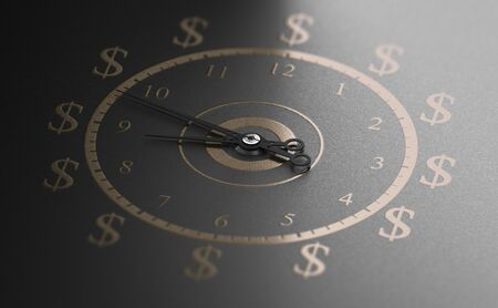 Clock with golden numbers and dollar symbols over black background. Time is money concept. 3D illustration. Banco de Imagens