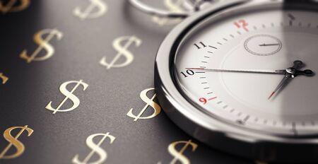 Clock over black background with golden dollar symbols. Time is money concept. 3D illustration.