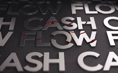 3D illustration of the text cash flow over black background. The words are broken. Concept of crisis and companies solvency.