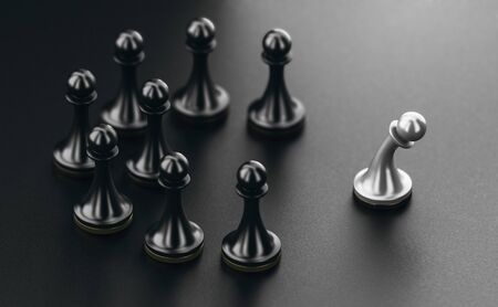 3D illustration of pawns over black background. Concept of ostracism and person socially rejected from a group. Banque d'images