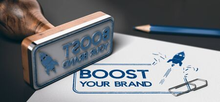 Rubber stamp with the text boost your brand and a rocket symbol printed on a sheet of paper. Concept of marketing. 3D illustration