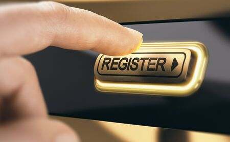 Finger pressing a golden register button to become a new member of an organization. Concept of membership registration. Composite image between a hand photography and a 3D background.