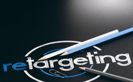3D illustration of the word retargeting written with wooden pencils over black background. Imagens