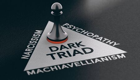 3d illustration of a pawn over a triangle shape with three words around it narcissism, psychopathy and machiavellianism. Psychological disorder concept. Dark triad and anti-social personality traits.