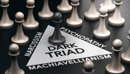 3d illustration of pawns over black background and a triangle shape with three words around it narcissism, psychopathy and machiavellianism. Psychological disorder concept. Dark triad and anti-social personality traits.