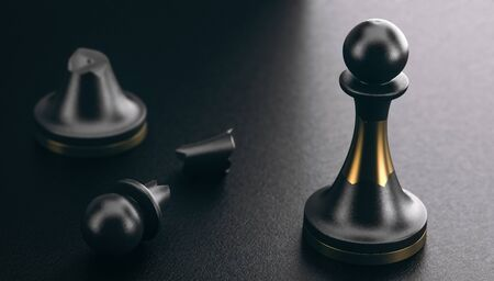 3D illustration of a broken pawn and another one repaired by using of a golden part. Black background. Positive psychology and resilience concept. Imagens