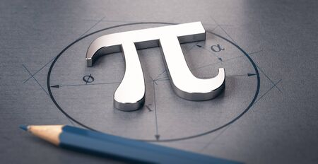 3D illustration of pi letter over a circle drawing. Mathematics concept Imagens