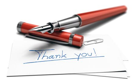 3D illustration of the text thank you hanwritten on a business card and a red fountain pen over white background Imagens