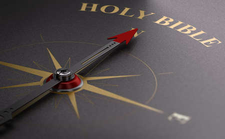 3D illustration of a compass pointing the text holy bibble. Catholic practices concept.