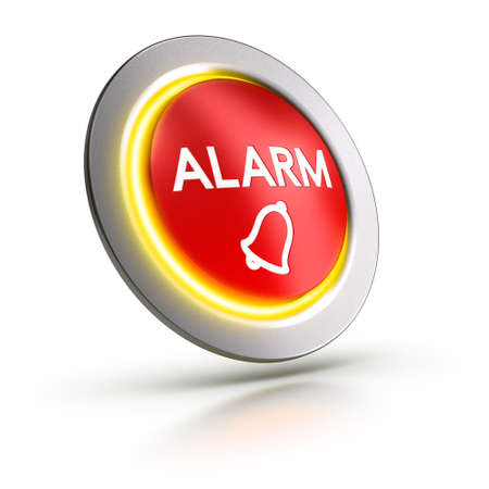 3D illustration of a red alarm button over white background.