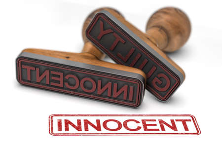 Two rubber stamps over white background with the words guilty and innocent, focus on the second one. 3d illustration