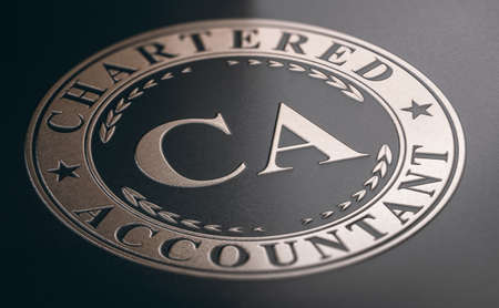Chartered Accountant Certification golden stamp printed on  black