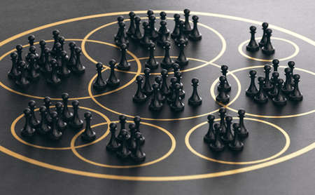 3D illustration of many pawns grouped together into golden circles over black background. Market segmentation concept.