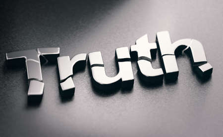 3D illustration of the word truth broken over black background. Concept of disinformation and fake news.