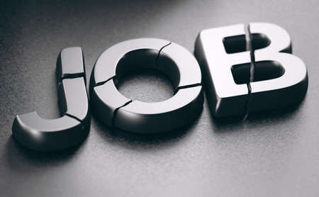 3D illustration of the word job broken over black background. Concept of employment loss. Imagens