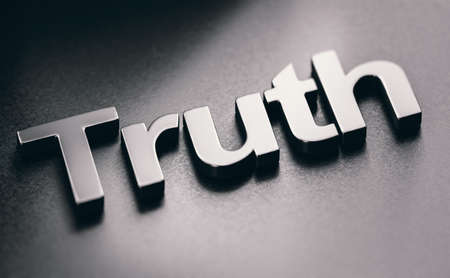 3D illustration of the word truth over black background. Imagens
