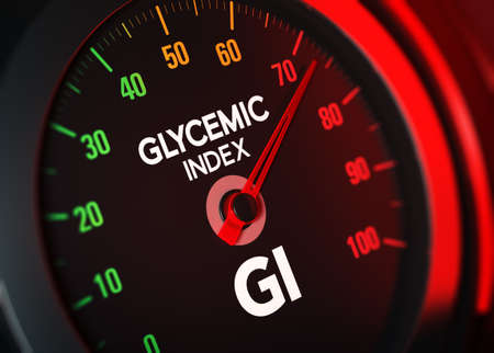 3D illustration of a conceptual GI counter that measures Glycemic Index on a scale from 0 to 100. Imagens