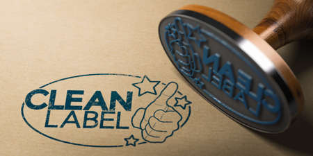 3D illustration of a rubber stamp with clean label printed on a kraft paper. Imagens