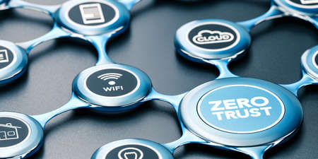 3D illustration of a blue network with icons and the text zero trust written on the front..
