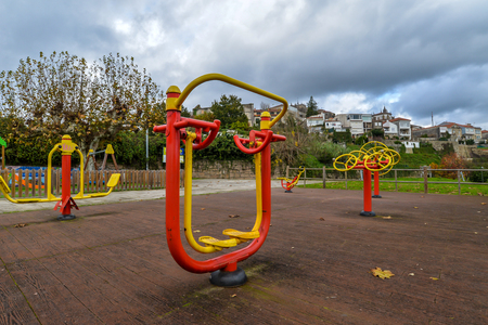 Colorful exercise equipment in Tui - Galicia, Spain Stockfoto