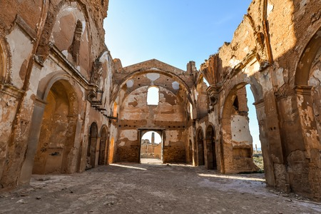 The remains of St Martin church in Belchite, a town in Aragon that was completely destroyed during the Spanish civil war - Belchite - Spain Editorial