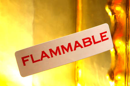 Flammable warning label on a container Stock Photo - 1455874