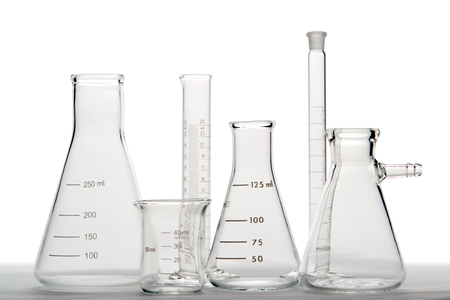 Assorted research laboratory glassware photo