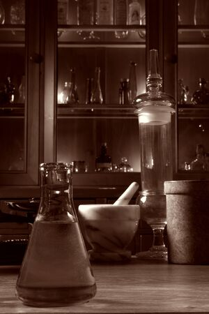 Sepiatone antique science research lab photo