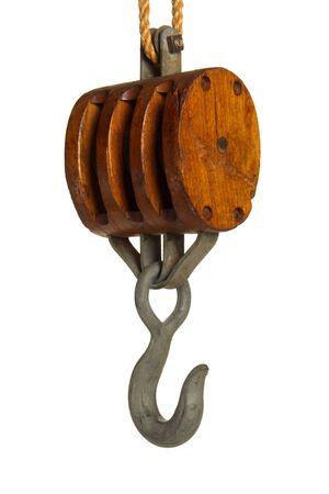 pulley: Vintage buque polea con gancho aisladas en blanco