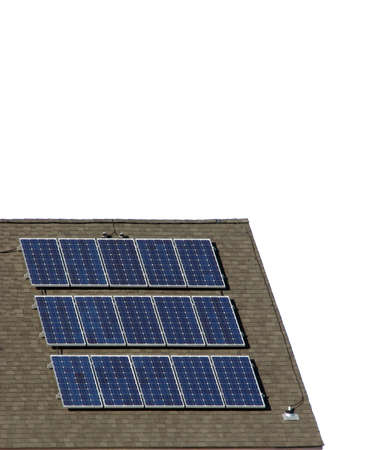 sufficient: Solar panels on a roof over white background Stock Photo