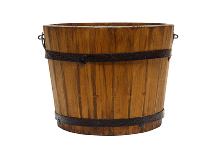 Old fashioned wood bucket isolated on white