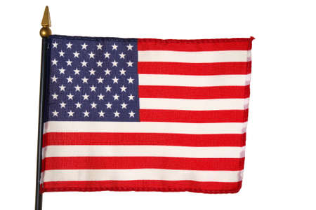 Small US American flag over white background Stock Photo - 1574321