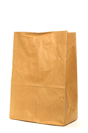 sac: Large brown paper bag over white background