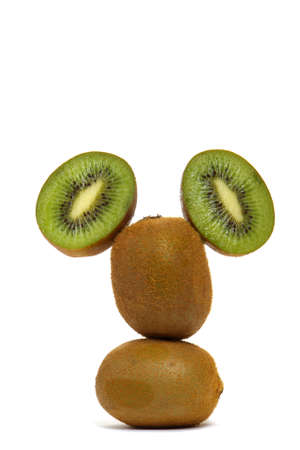 Funny man's head made of kiwi fruits over white background Archivio Fotografico