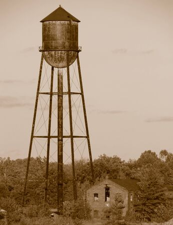 Vintage water tower in sepia Stock Photo - 1703766