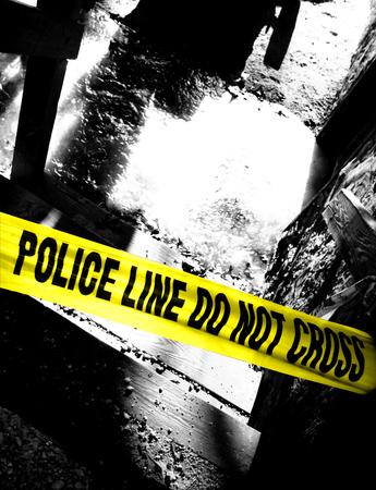 uccidere: Polizia linea non attraversare il nastro giallo scalone