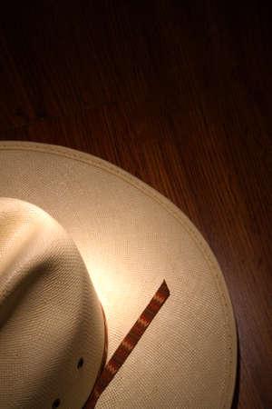 stetson: White western cowboy hat on wood