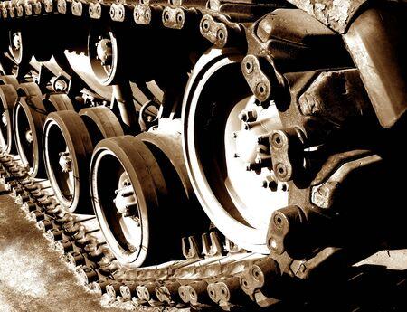 Vintage tank track in sepia Stock Photo - 1703773
