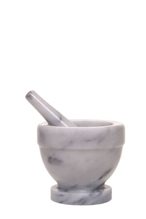 Marble mortar and pestle isolated on white 版權商用圖片 - 1703762
