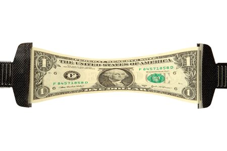 pile of money: One dollar bill stretched over white background Stock Photo