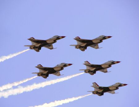 formation: USAF Thunderbirds aerial demonstration planes in formation