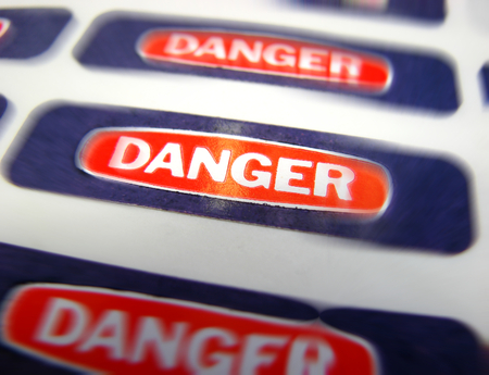 Danger stickers in a research lab Stock Photo - 1717948
