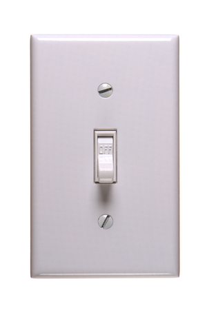 power switch: Traditional american electric switch in OFF position Stock Photo