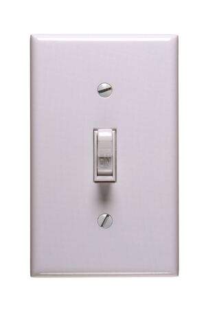 command button: Traditional american electric switch in ON position