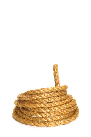 Rough rope on white background