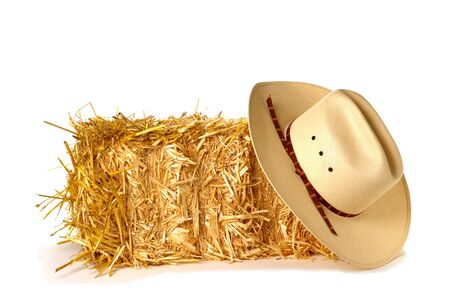 White cowboy hat over bale of hay photo