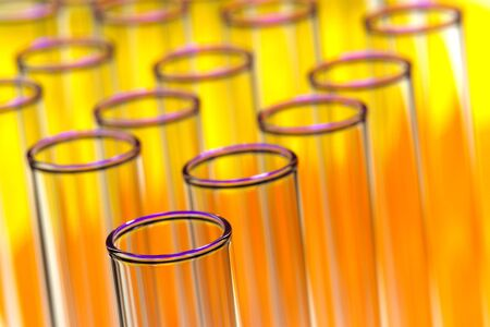 Group of test tubes with yellow and orange highlights in a science research lab