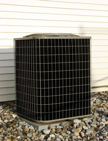 refrigerant: Residential air conditioner outside compressor and condenser unit